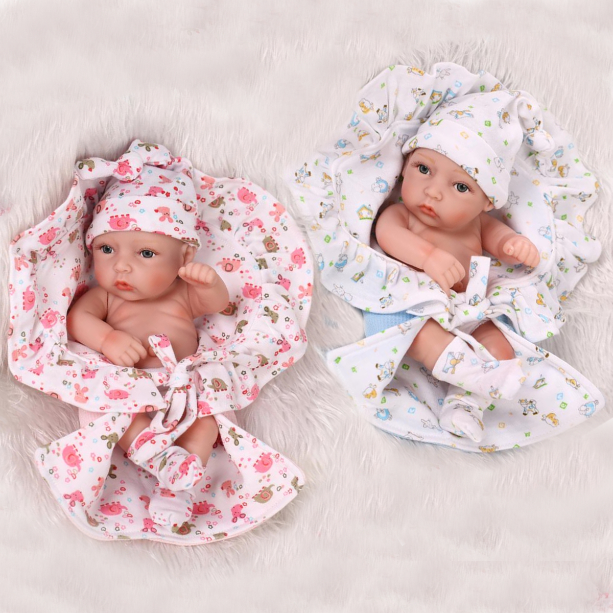 2pcs 10inch Lifelike Twins Baby Dolls Silicone Children Bath Toys Play House Toy