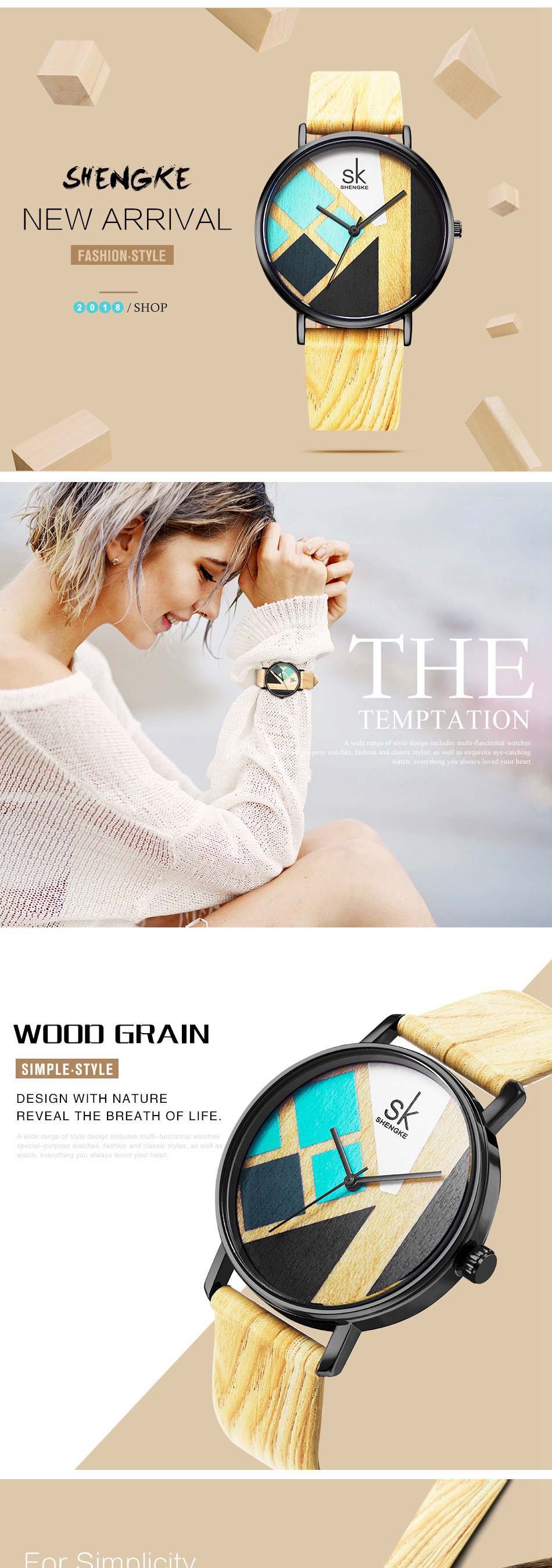 SK K0079 Creative Casual Style Leather Women Watches