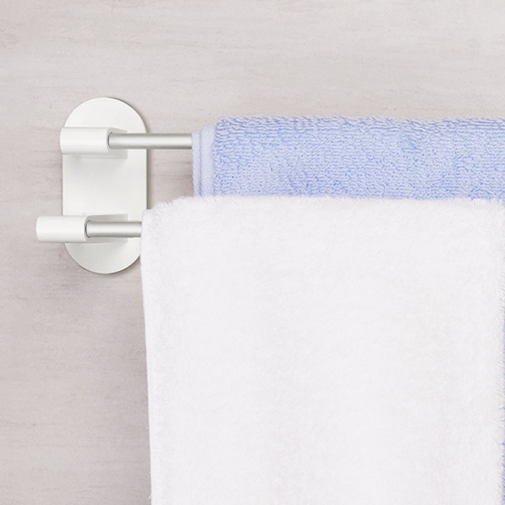 XIAOMI Happy Life 8H Towel Rack Holder WHITE Tape Double Rod Storage Washcloth Towel Hanger Bathroom Accessories NO-Punching