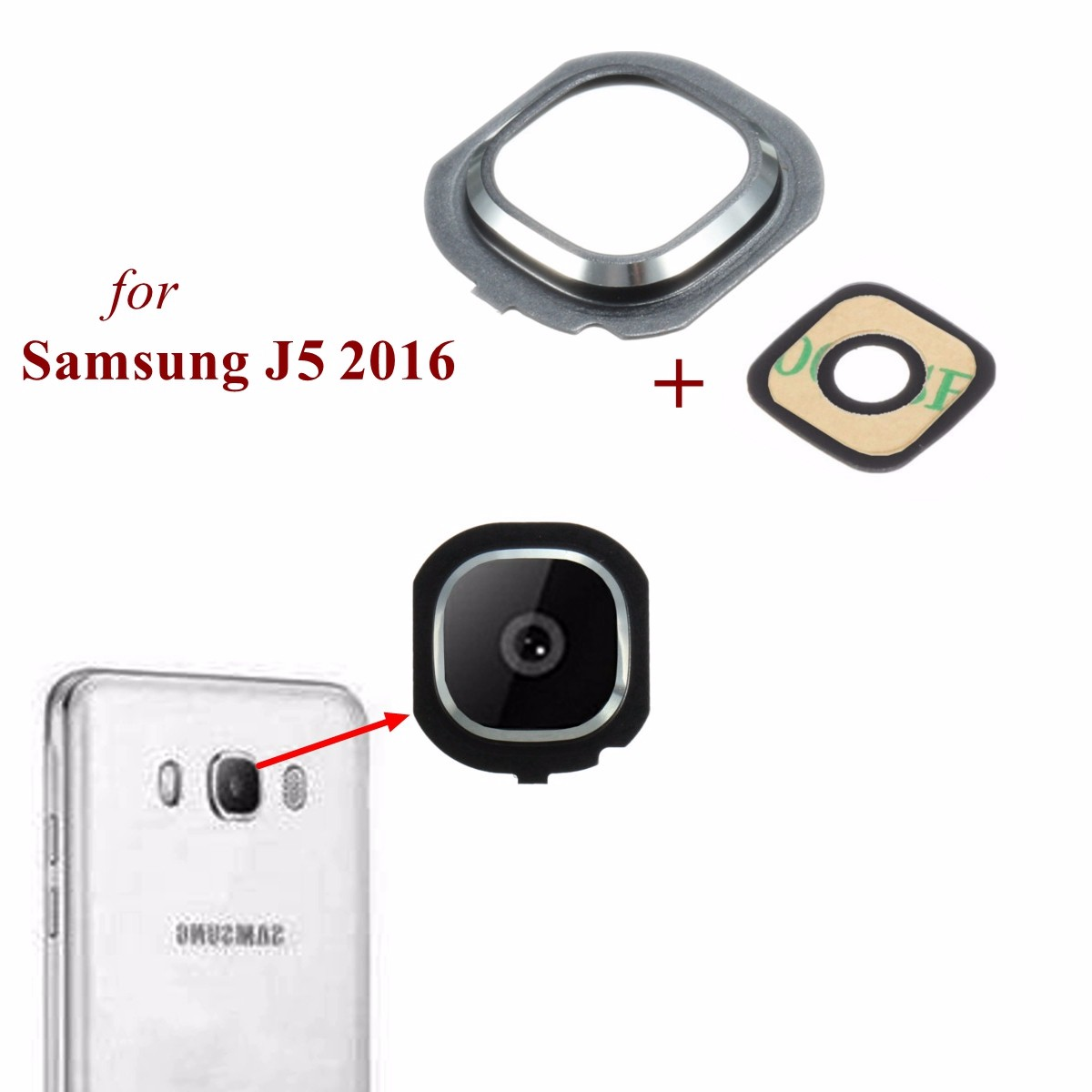 Back Rear Camera Glass Frame Holder Lens Cover For Samsung Galaxy J5 2016