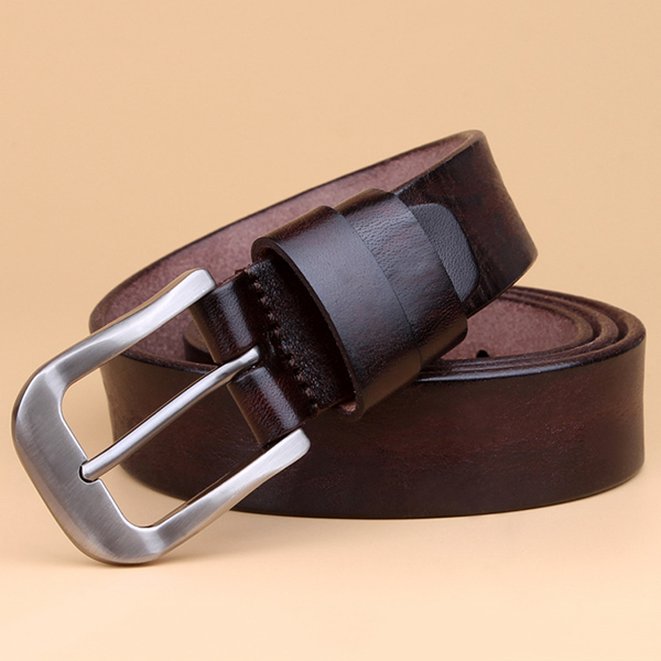 Women Ladies Vintage First Layer Cowhide Belt Solid Casual Pin Buckle Waistband Belt