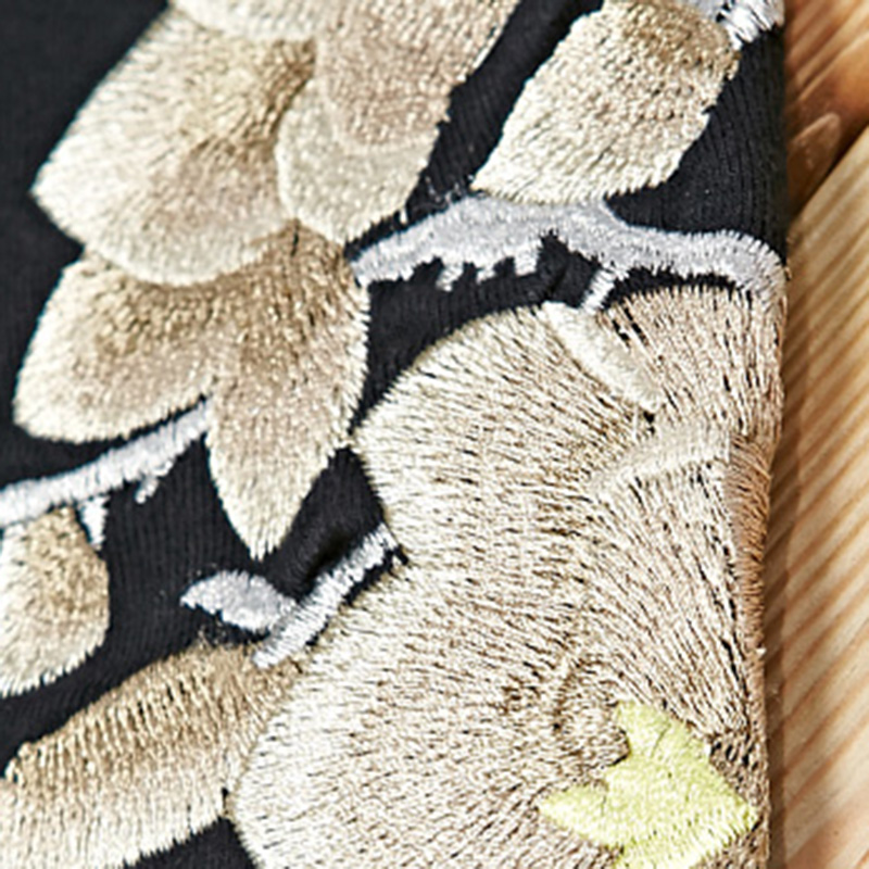 Women Cashmere Embroidered Flowers Half Finger Wrist Gloves