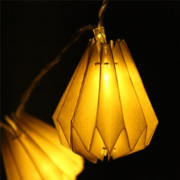 1M 10 LED Battery Operated Diamond Paper Lantern Party String Lights Warm White