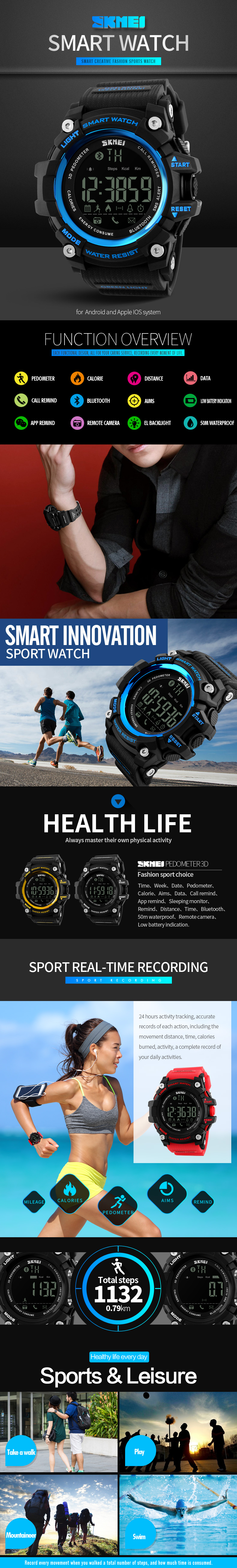 SKMEI 1227 bluetooth Smart Watch Call Message Notification Pedometer 50M Waterproof Sports Watch