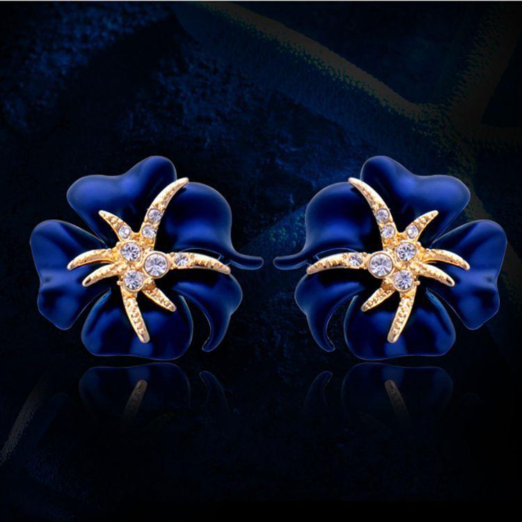 1 Cặp Bông Tai Vàng Stud Hoa Thanh Lịch Rực Rỡ Màu Xanh Đỏ Nở Hoa
