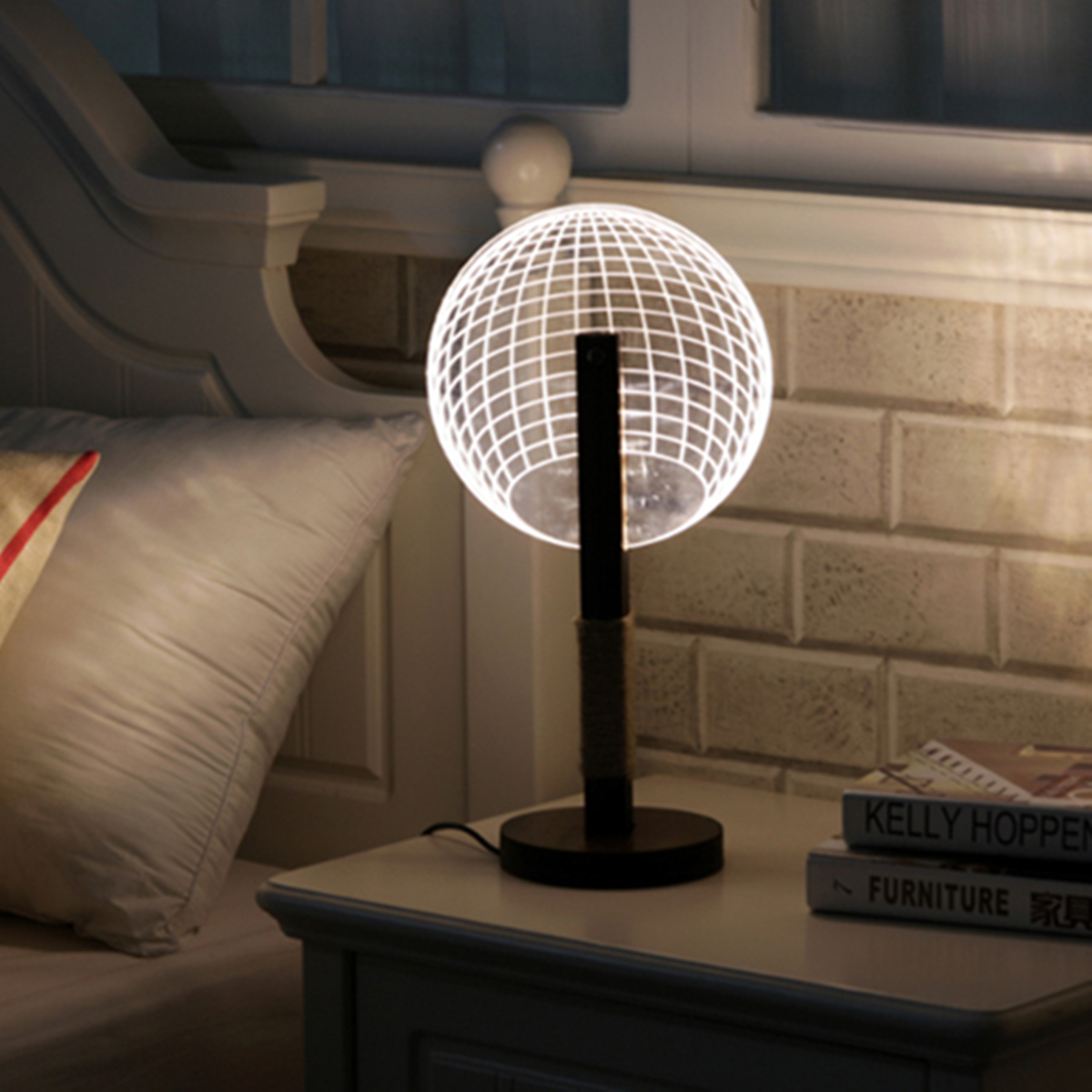 3D Round Ball Shape LED Creative Desk Light Night Lamp Acrylic Dimmable Art Table Lamp Xmas Gifts