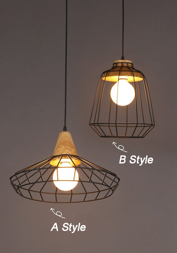 Modern Creative Iron Wood Pendant Light Cafe Bar Restaurant Corridor Ceiling Hanging Lamp Fixture