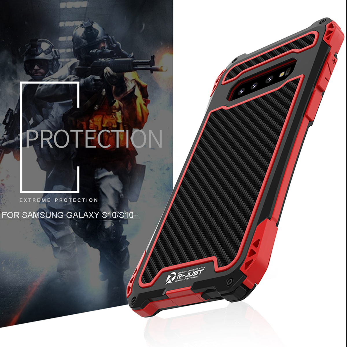 Aluminum Alloy Shockproof Snowproof Dirtproof Protective Case For Samsung Galaxy S10 Plus 6.4 Inch 2019