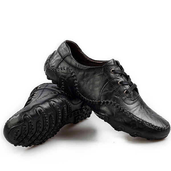 Men Soft Leather Breathable Oxfords Octopus Pattern Rubber Sole Driving Shoes