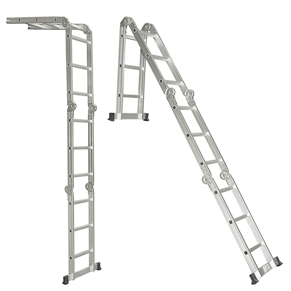 3.6M Multipurpose Aluminum Alloy Ladder 4Fold x 3Steps Ladder Scaffold Extendable