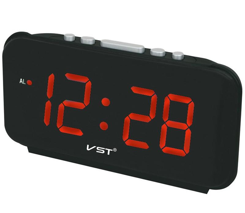 VST ST-4 Big Numbers Digital Alarm Clocks EU Plug AC Power Electronic Table Clocks With 1.8 Large LED Display Home Decor Gift For Kids