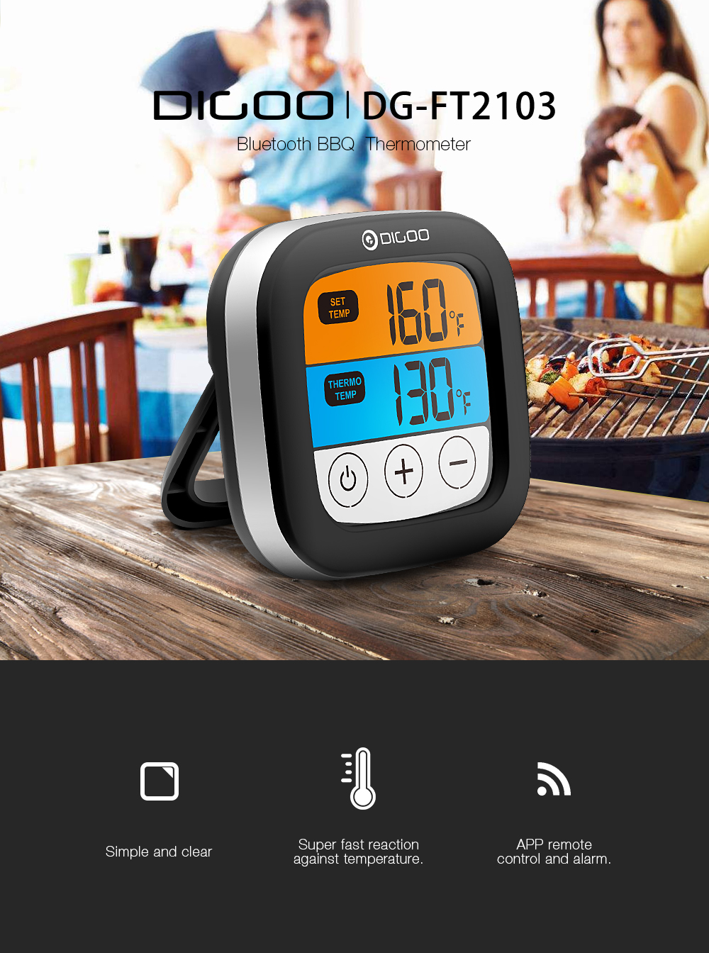 Digoo DG-FT2103 LED Touch Screen Digital Bluetooth Cooking Meat Thermometer with Stainless Steel Temperature Probe for Meat Turkey Barbecue Grilling Chicken