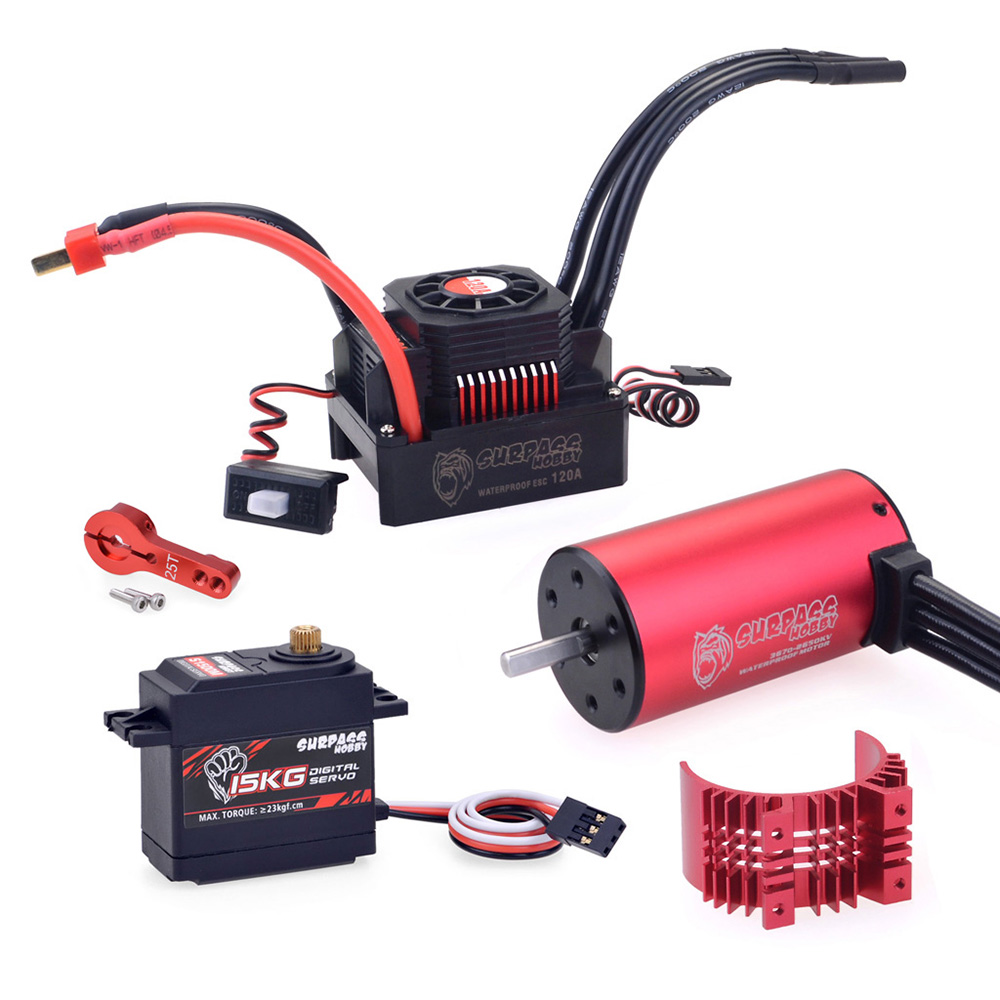 Surpass Hobby KK 3670 Brushless Motor 120A Brushless ESC 15KG Digital Servo Brushless Set for RC Car Model Parts