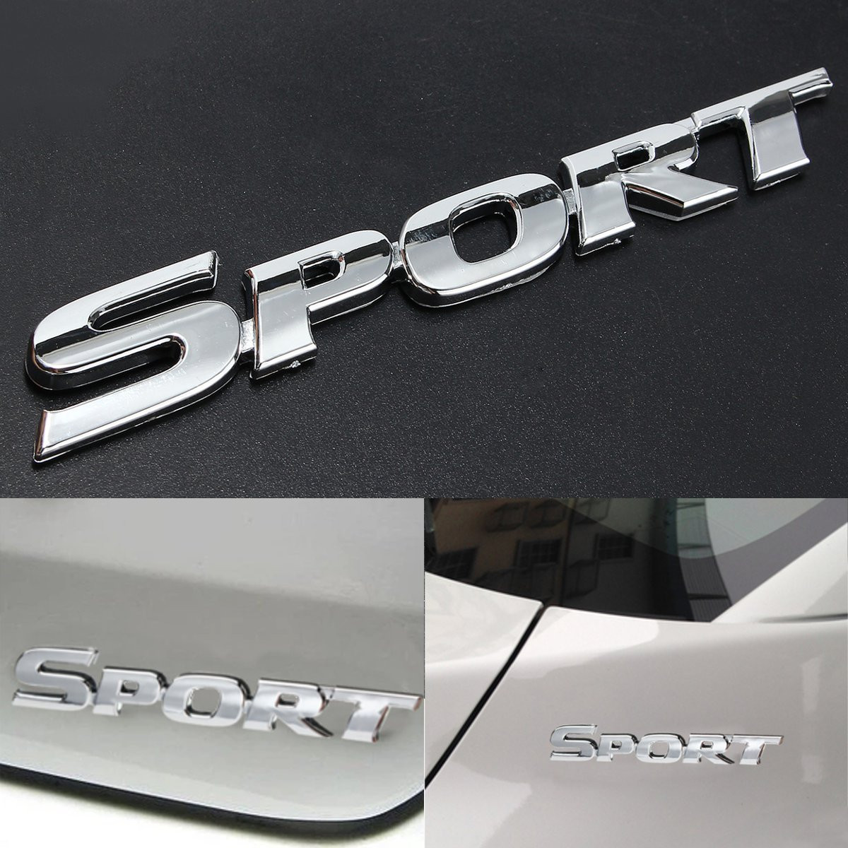 3D SPORT Chrome ABS Car Trunk Badge Emblem Decor Decals Sticker