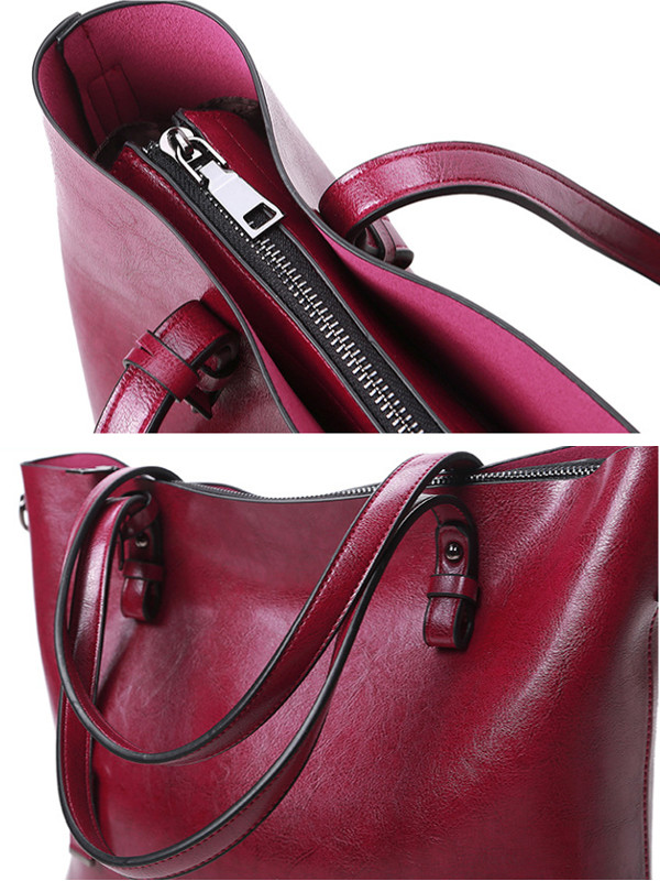 Women Vintage Oil Leather Tote Handbags Casual Shoulder Bags Capacity Shopping Crossbody Bags