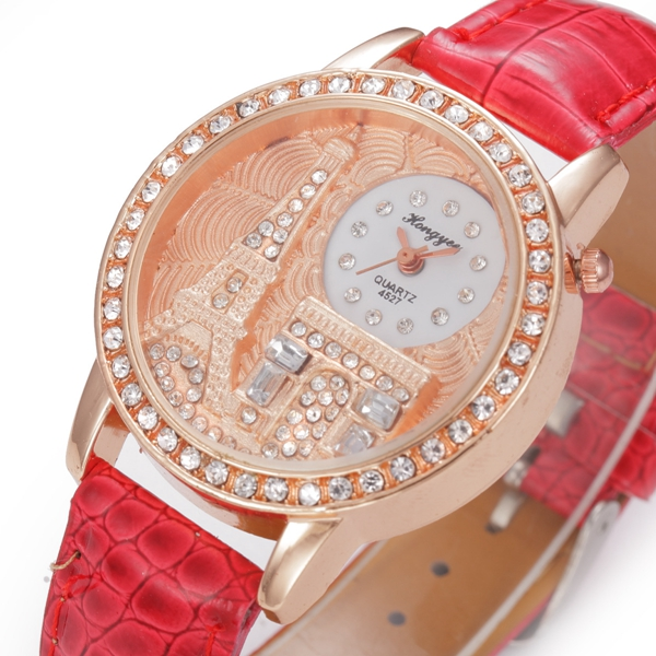 HY45 Fashion Eiffel Tower Rhinestone Dial Case Lady Dress Wristwatch Leather Quartz Watch