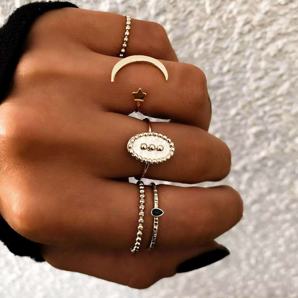 5Pcs Bohemian Finger Ring Set Moon Star Open Close Rings