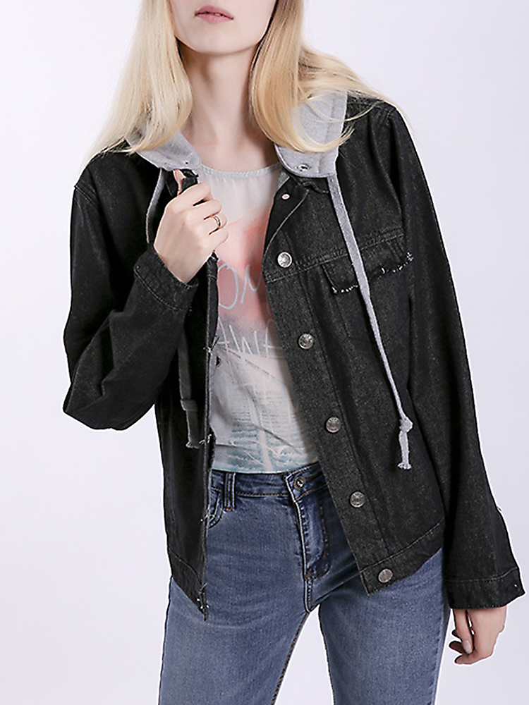 Casual Women Back Embroidery Denim Jacket
