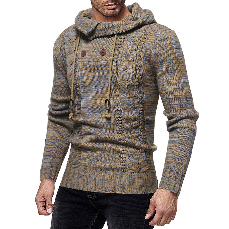 Men's Knitting Thickened Hooded Wool Fit Casual Sweaters