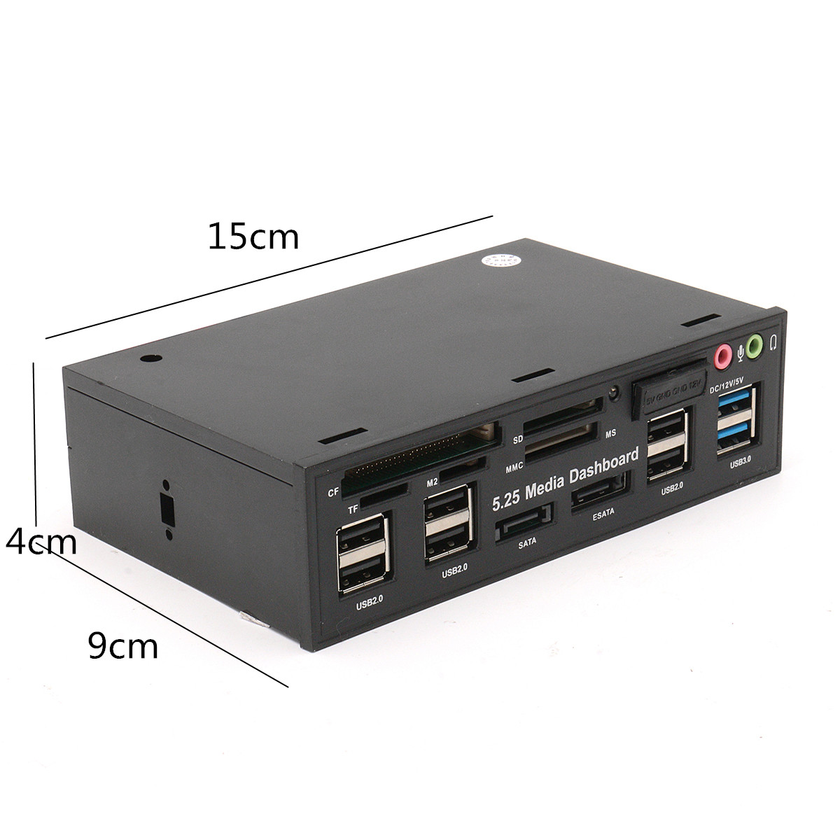 5.25 Inch USB3.0 Drive Bay SD TF Card Reader SATA USB Hub Audio Front Panel Media Dashboard