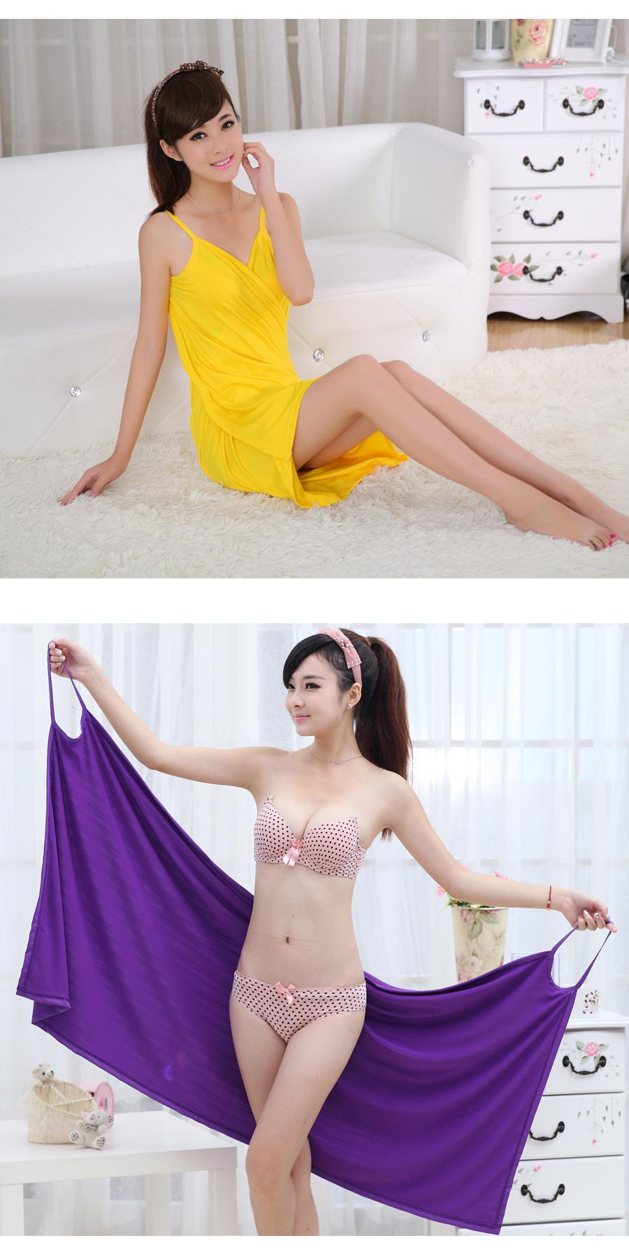Honana BX-376 Summer Beach Soft Ice Silk Sexy Hot Able Wear Deep V Spa BathRobe Bath Towel Women Skirt