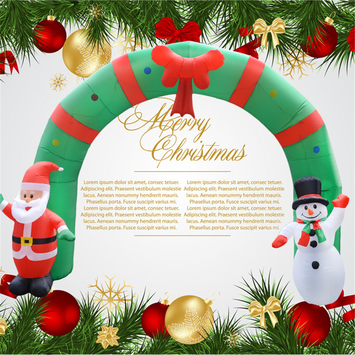 250cm Huge Inflatable Christmas Arch ArchwaySanta Snowman Indoor ...