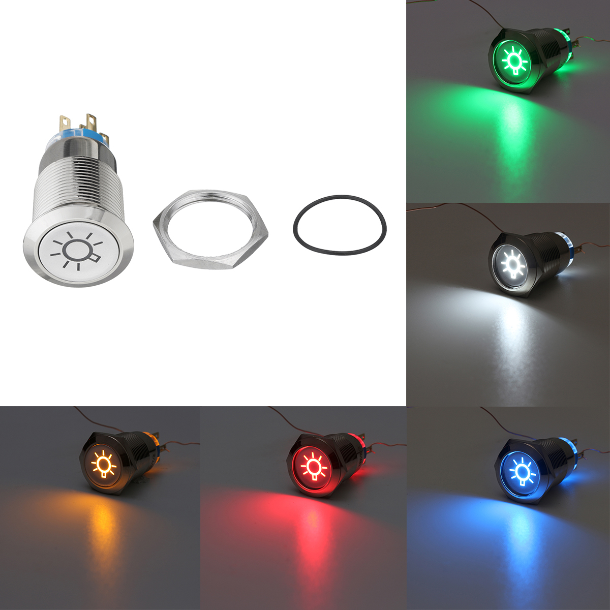 19mm 12V LED IP65 Push Button On Off Dome Light Switch