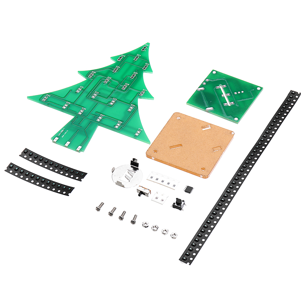 DIY LED Flash Kit Colorful Light Patch Stereo Christmas Tree with Music Electronic Learning Kit