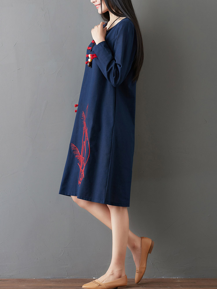 Vintage Chinese Style Frog Button Long Sleeve Pockets Dress