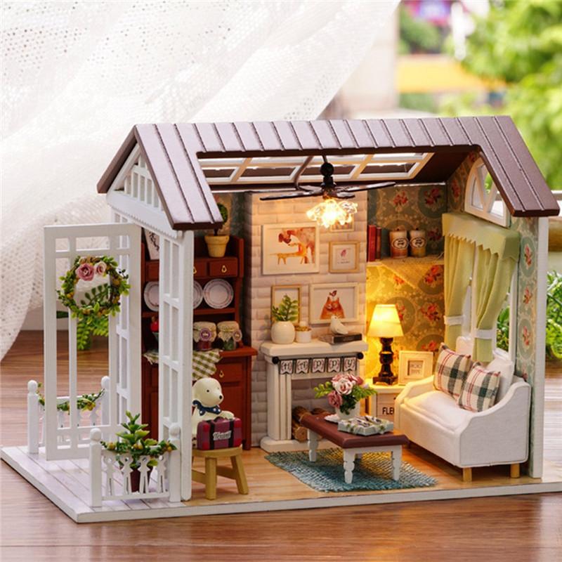 Кукуруза Лесные наборы времени Деревянный кукольный домик Миниатюрный DIY Дом ручной работы Идея игрушки Идеи подарков Счастливые времена