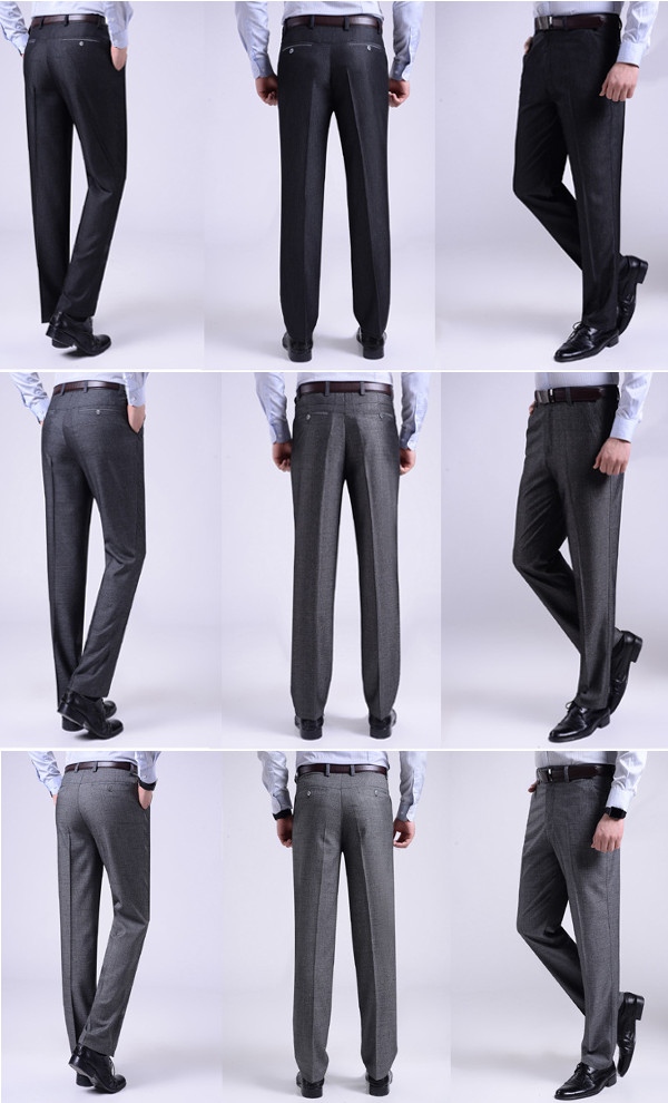 Mens Fashion Casual Suit Pants Spring Summer Pure Color Thin Straight Trousers