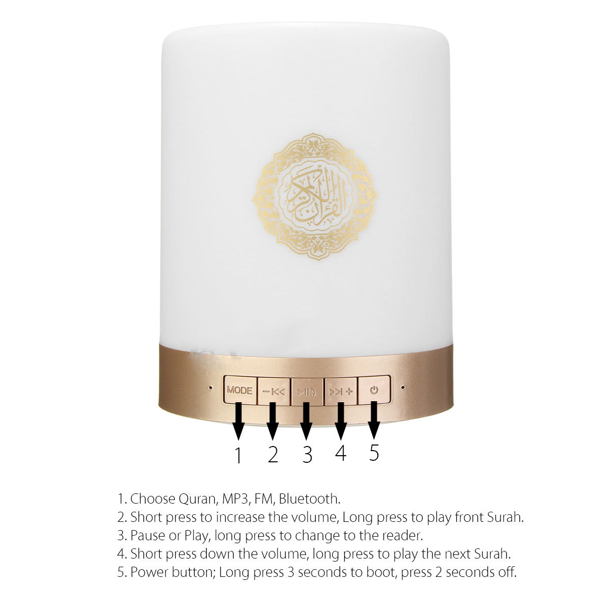 Quran Portable bluetooth Speaker Remote Control LED Touch Lamp TF Card FM Radio Headset Speaker