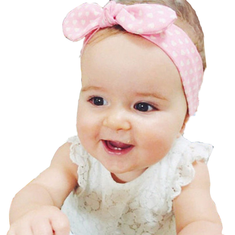 Cute Baby Knot Rabbit Hair Band Headbrand Dot Turban Headwrap Girls Kids Toddler