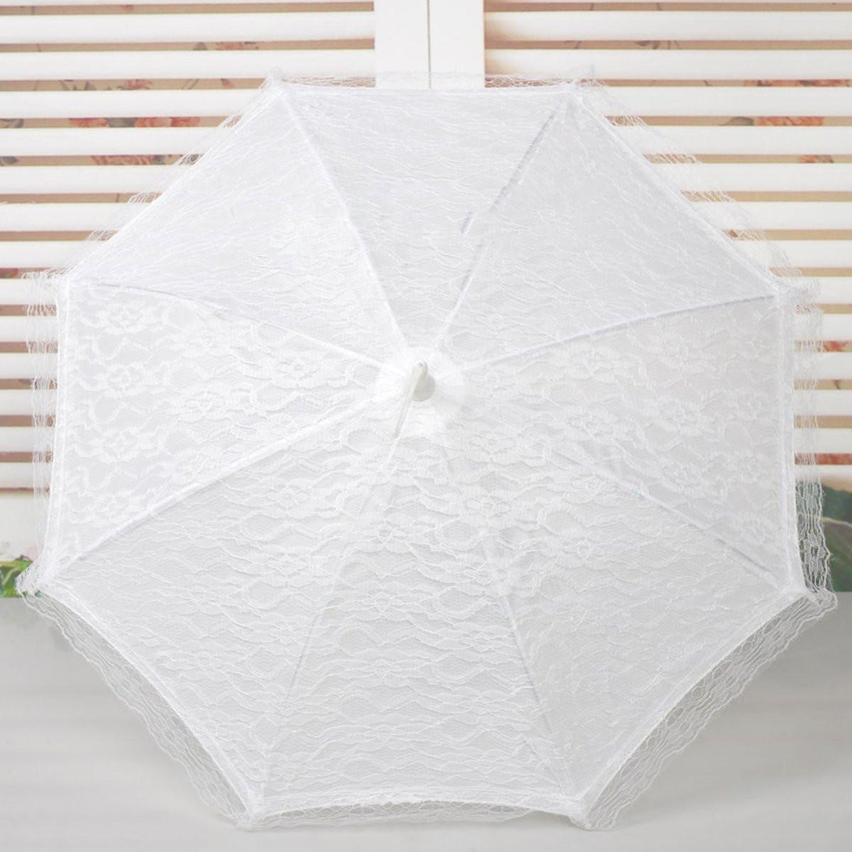 54CM Bride Handmade Flower Girls Battenburg Lace Parasol Wedding Party Sun Umbrella