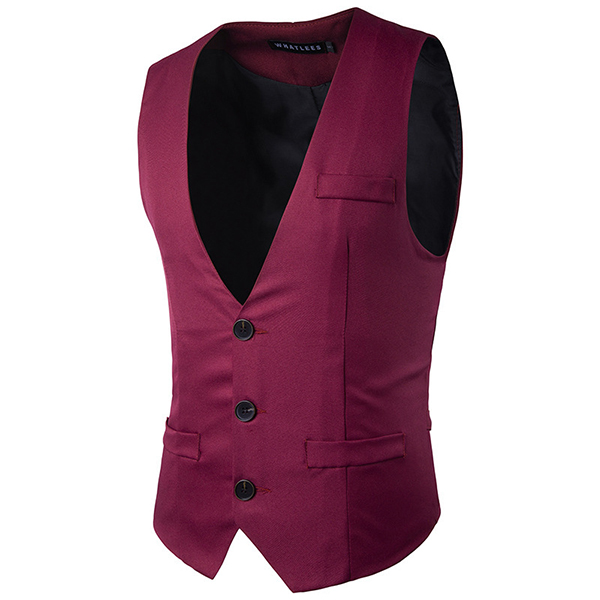 Mens Slim Fit Solid Color Waistcoat Fashion Three Buttons Business Casual Vest 5 Colors