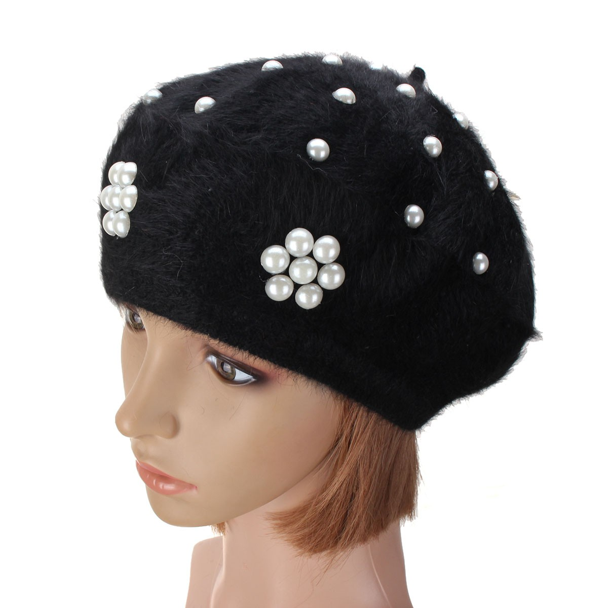 Women Ladies Rabbit Fur Cotton Flower Pearl Beaded Beret Hat Knitted Winter Soft Cap