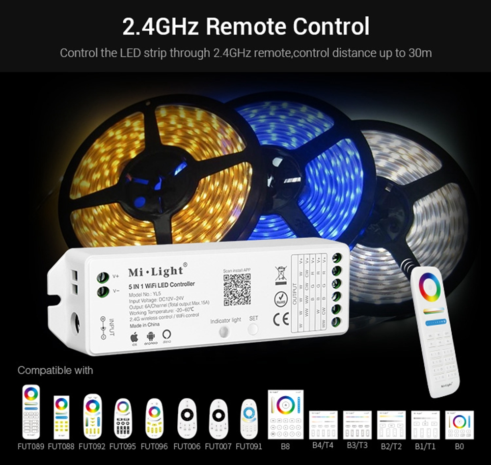 Milight YL5 5 in 1 WIFI LED Controller for RGB RGBW RGB CCT LED Strip Light Work With Amazon Alexa