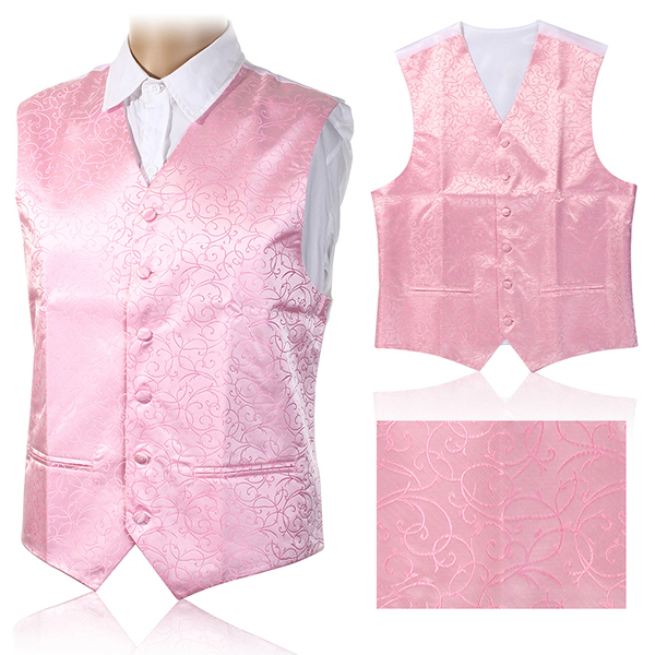British Style Cashew Flower Printing Slim Fit Dress Waistcoat Tuxedo Vest