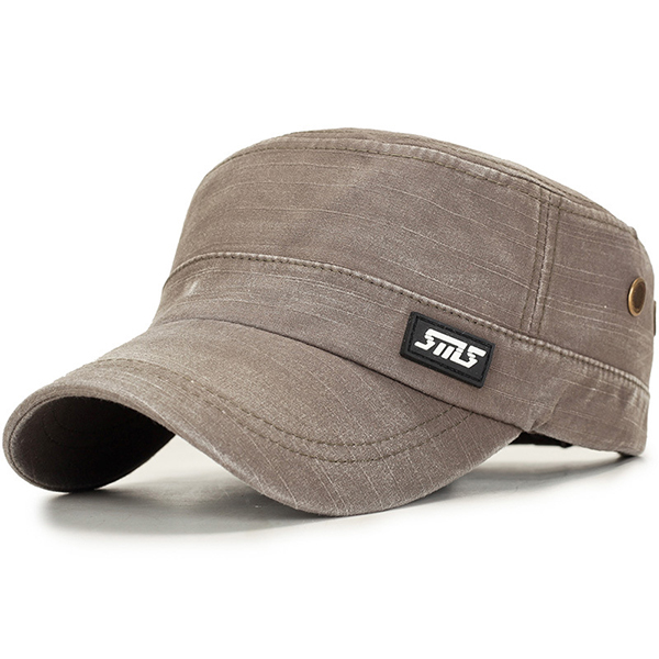 Mens Washed Military Army Flat Top Cap