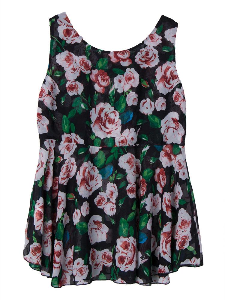 Sexy Women Sleeveless Rose Flower Printing Ruffle Chiffon Tank Top