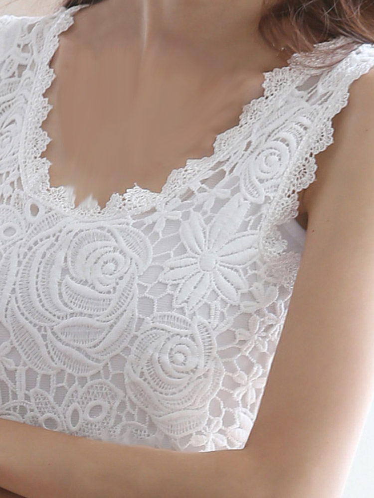 Casual Slim Lace Crochet Solid Color Sleeveless Women Vest Tank Top