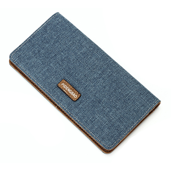 13 Card Slots Men Canvas Casual Ultra Thin Long Wallet Minimalist Card Holder Purse