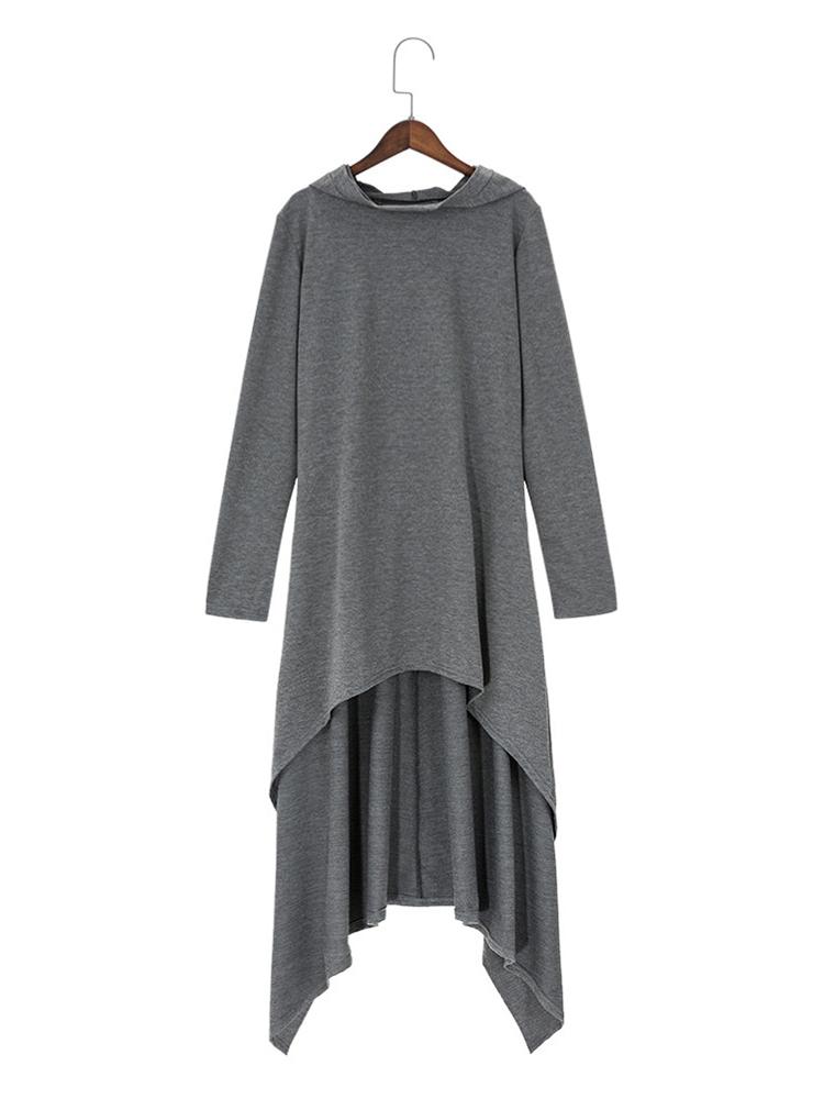 Casual Women Long Sleeve Irregular Hem Hooded Pure Color Long Sweatshirts