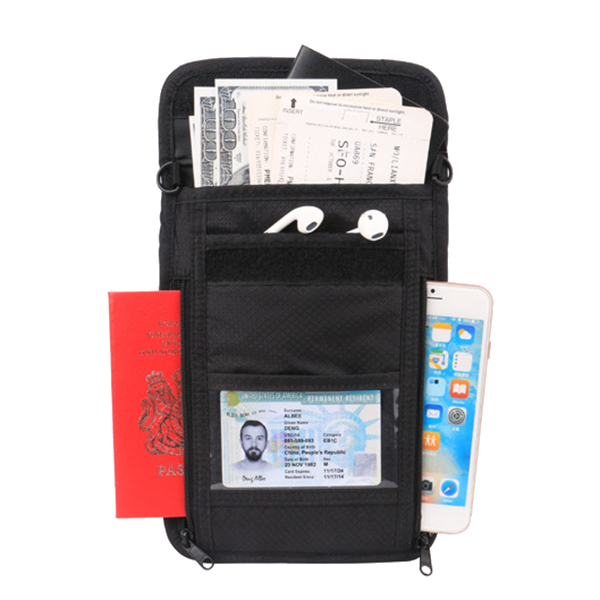 RFID Anti Thief Zipper Passport Travel Shoulderbags Transparent Neck Bag Crossbody Bags