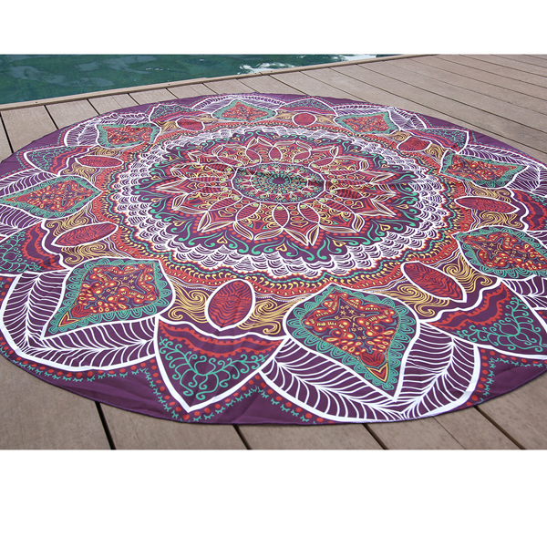 145cm Printing Thin Chiffon Beach Shawl Mat Mandala Round Bed Sheet Tapestry Tablecloth Decor