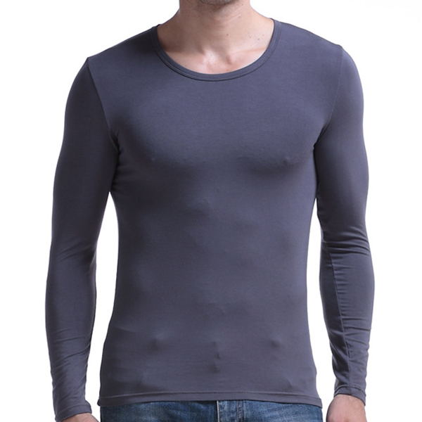 Mens Classic Modal Solid Color Comfortable Slim Fit Round Neck Tops Long Sleeve Sleepwear