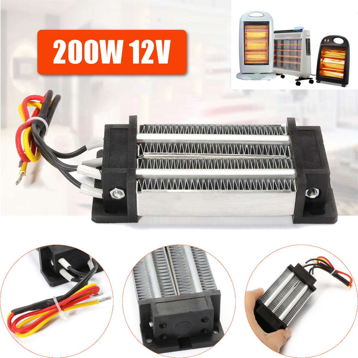 Heater for Incubator 12V 200W Electric Thermostatic PTC Heating Element Insulation Heater