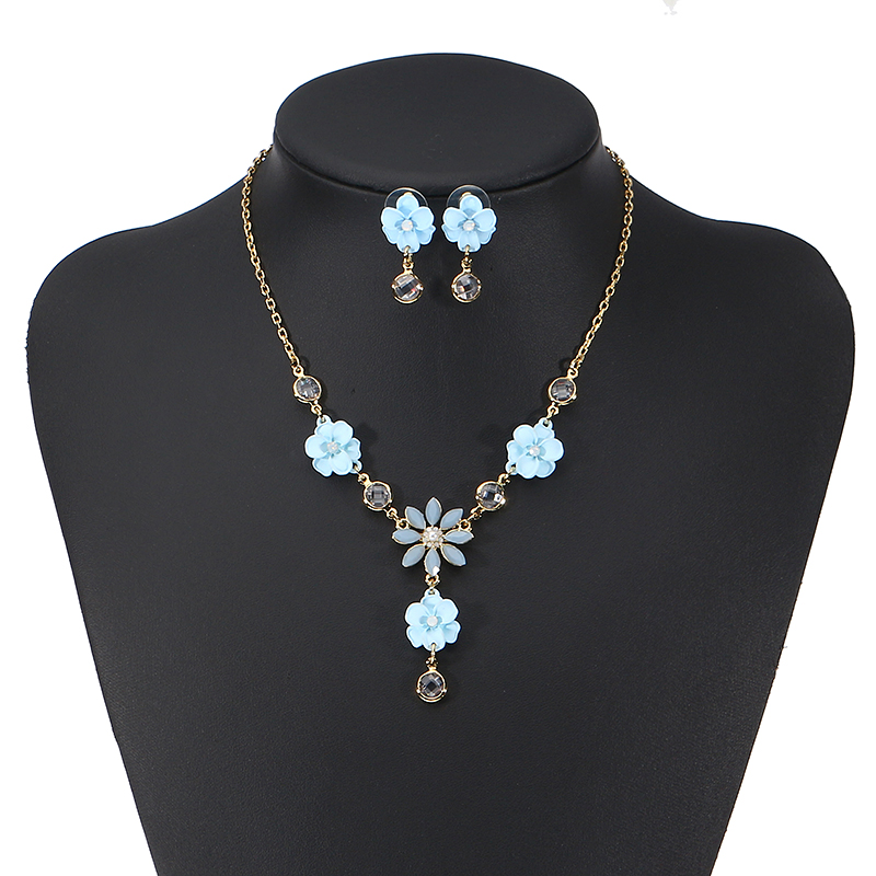 JASSY® Elegant Blue Flower Jewelry Set