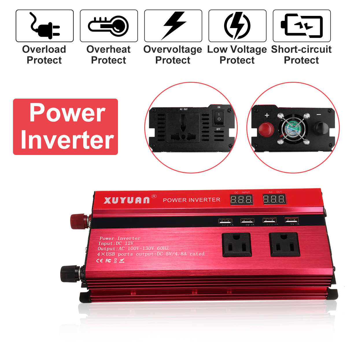 4000W 12V/24V DC to 110V/220V AC Solar Power Inverter LED Modified Sine Wave Converter