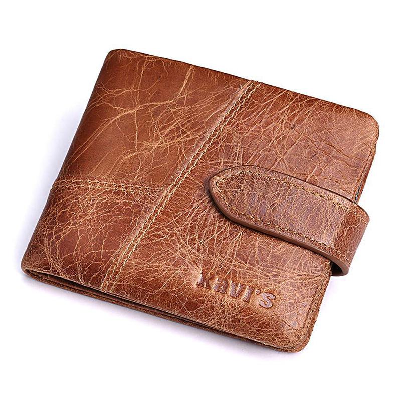 Men Women Vintage Bifold Genuine Leather 6 Card Slots Wallet